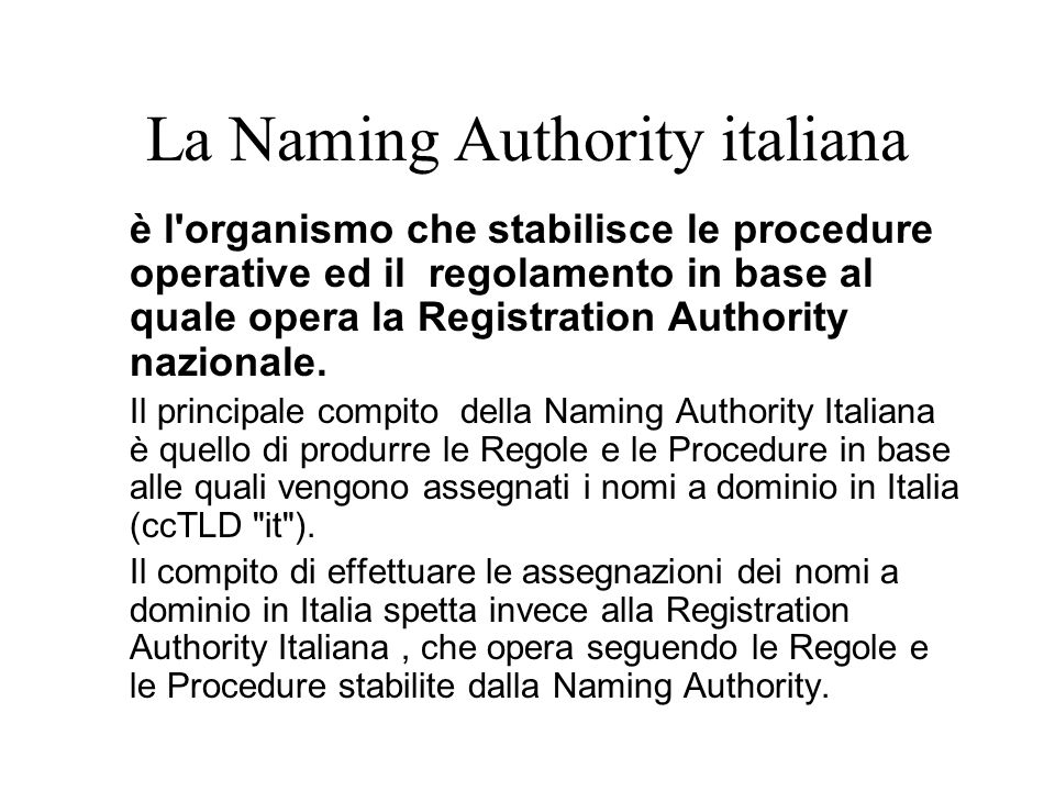 La Naming Authority italiana