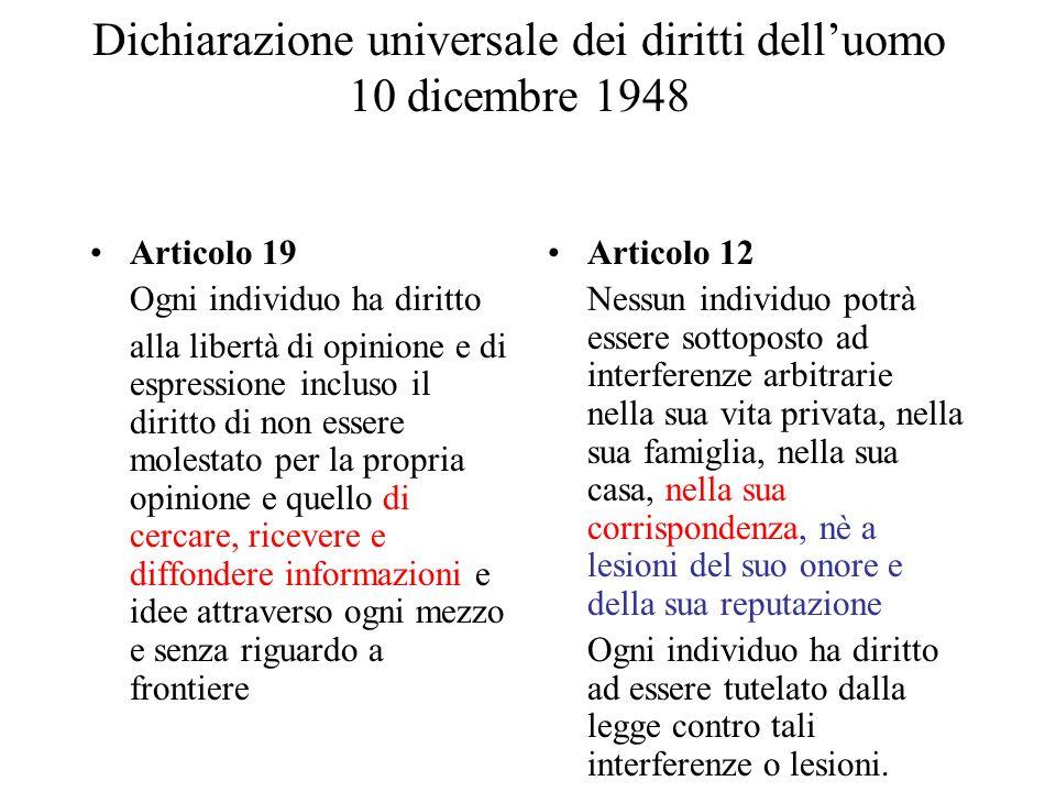 Dichiarazione universale dei diritti dell'uomo 10 dicembre 1948