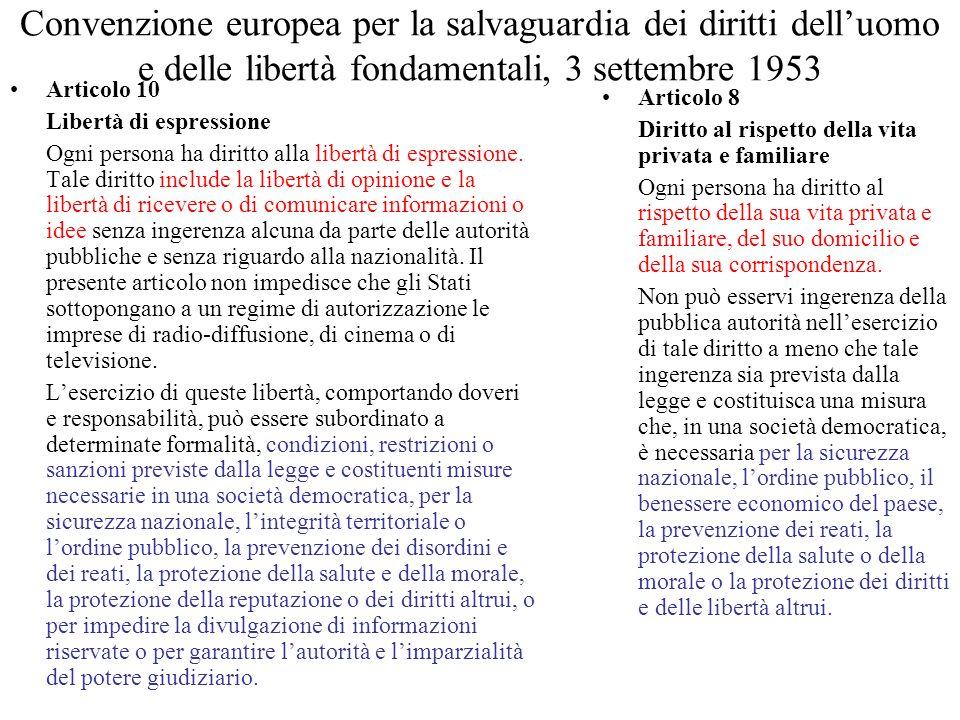 Convenzione europea per la salvaguardia dei diritti dell'uomo e delle libertà fondamentali, 3 settembre 1953