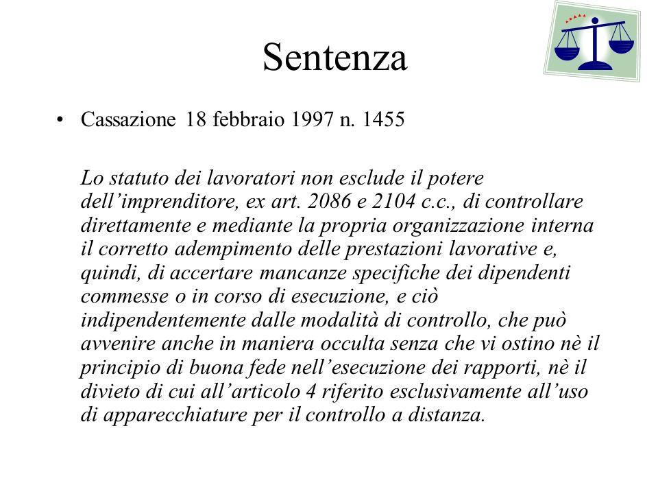 Sentenza Cassazione 18 febbraio 1997 n. 1455