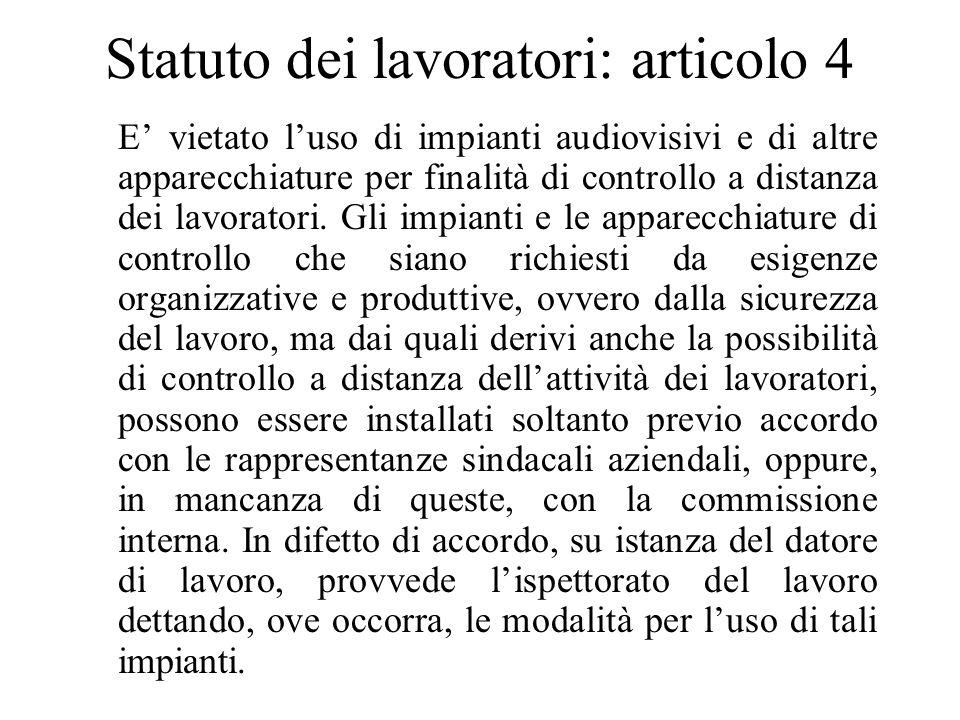 Statuto dei lavoratori: articolo 4