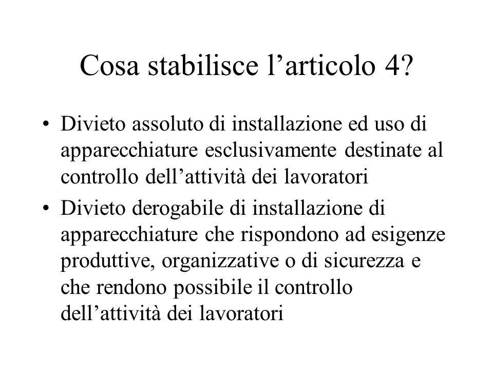 Cosa stabilisce l'articolo 4