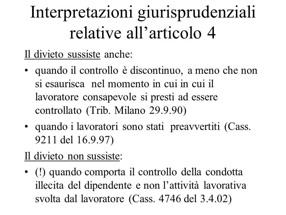 Interpretazioni giurisprudenziali relative all'articolo 4