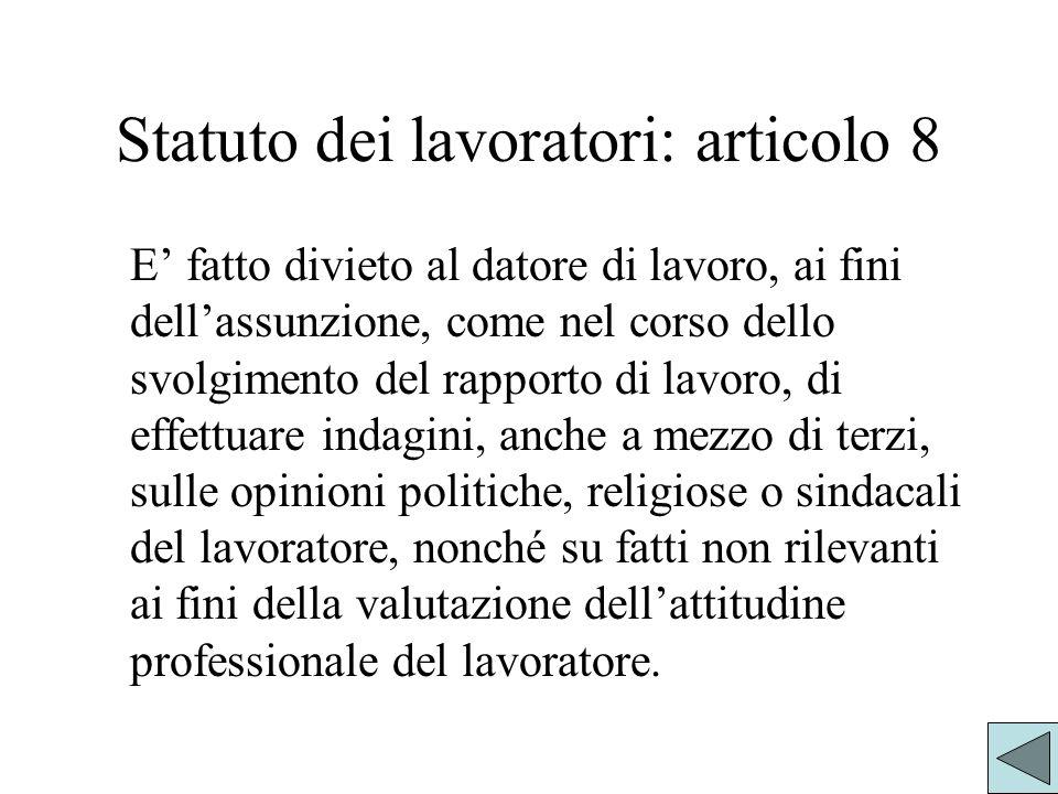 Statuto dei lavoratori: articolo 8