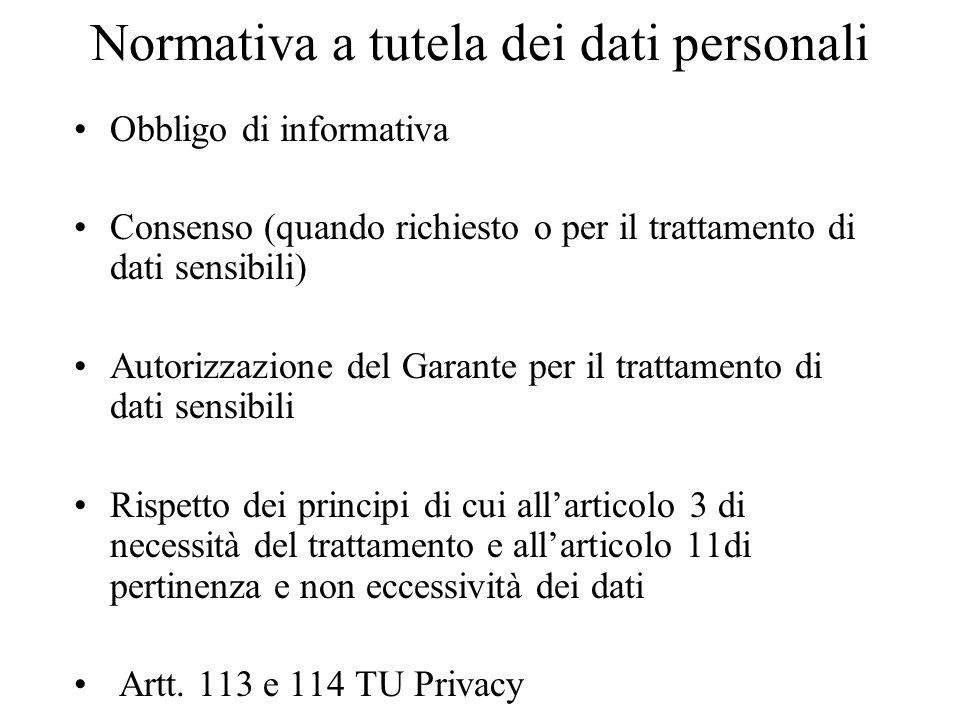 Normativa a tutela dei dati personali