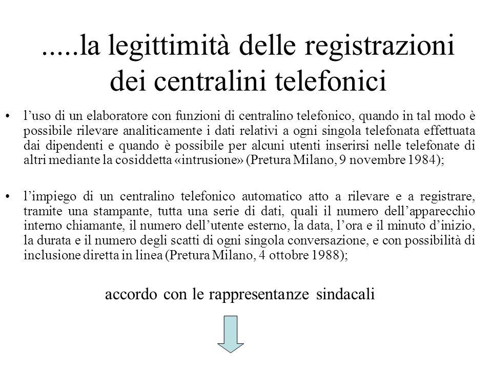 .....la legittimità delle registrazioni dei centralini telefonici