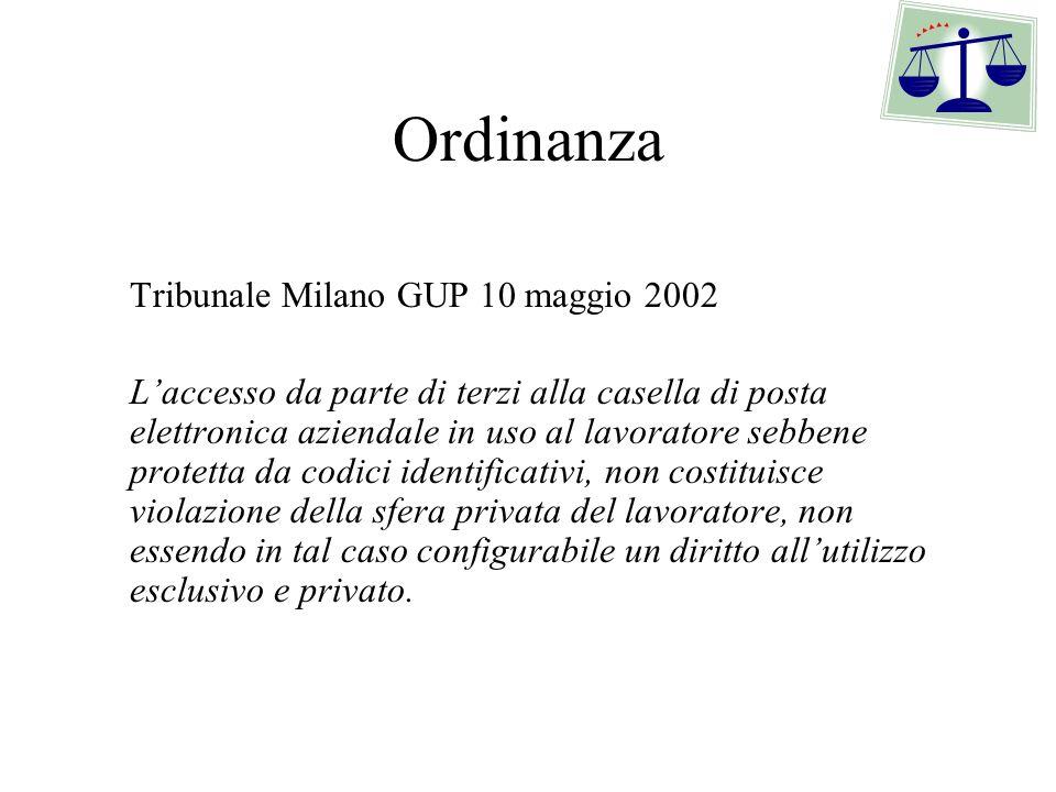 Ordinanza Tribunale Milano GUP 10 maggio 2002.