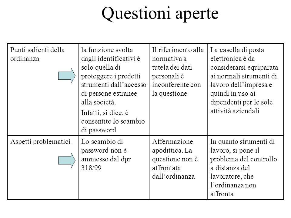 Questioni aperte Punti salienti della ordinanza