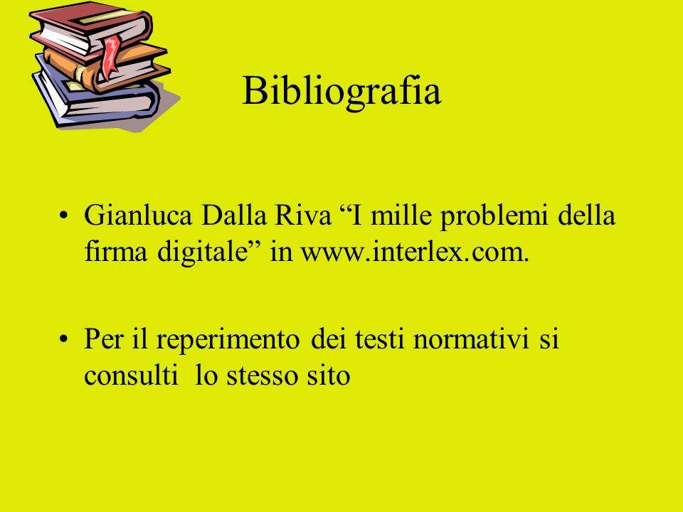 Bibliografia Gianluca Dalla Riva I mille problemi della firma digitale in www.interlex.com.