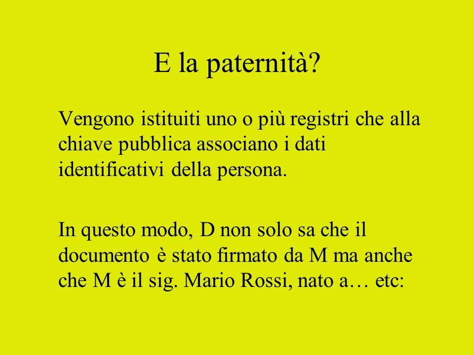 E la paternità Vengono istituiti uno o più registri che alla chiave pubblica associano i dati identificativi della persona.