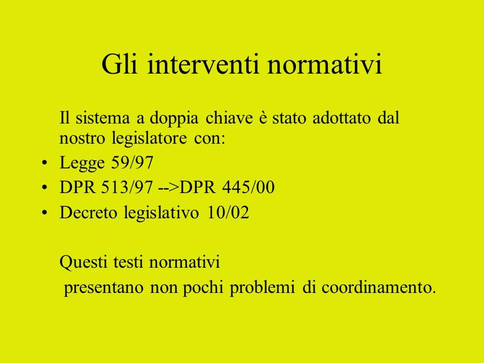 Gli interventi normativi
