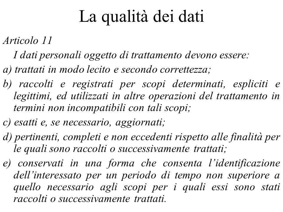 La qualità dei dati Articolo 11