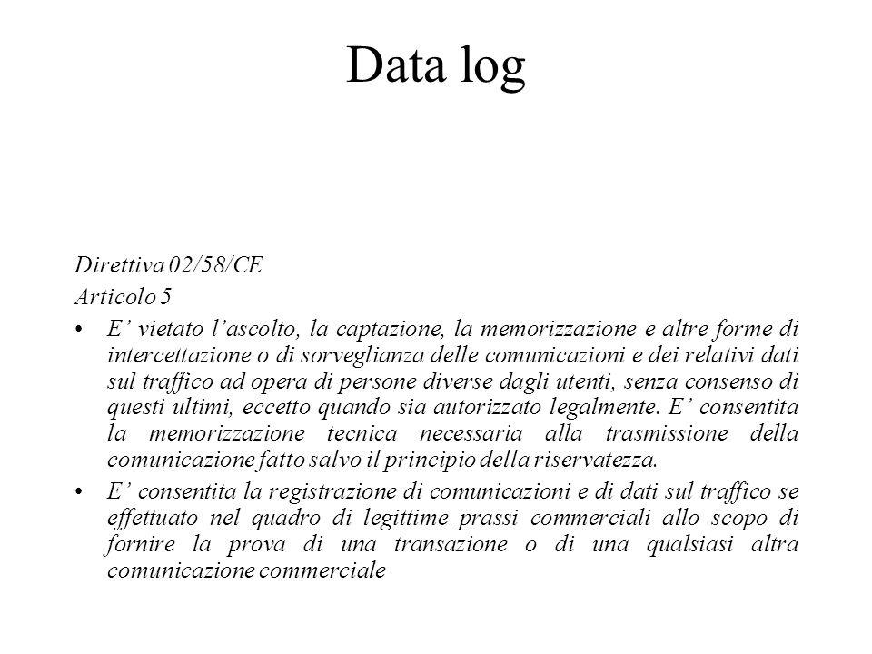 Data log Direttiva 02/58/CE Articolo 5