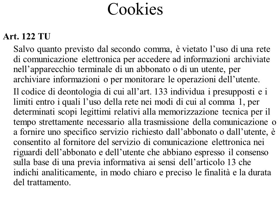 Cookies Art. 122 TU.