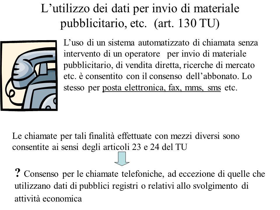 L'utilizzo dei dati per invio di materiale pubblicitario, etc. (art