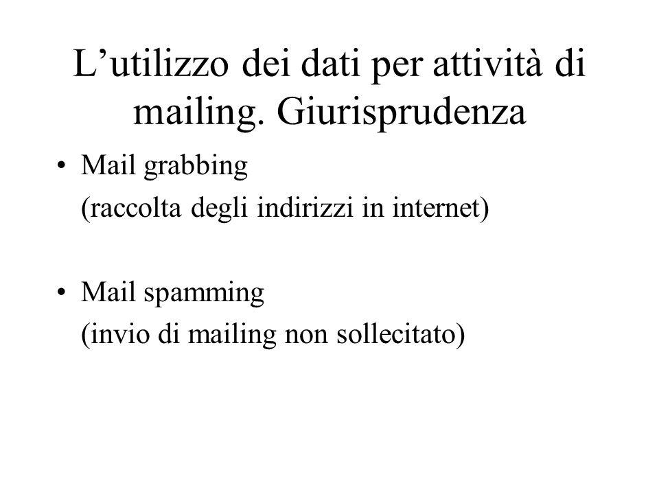 L'utilizzo dei dati per attività di mailing. Giurisprudenza