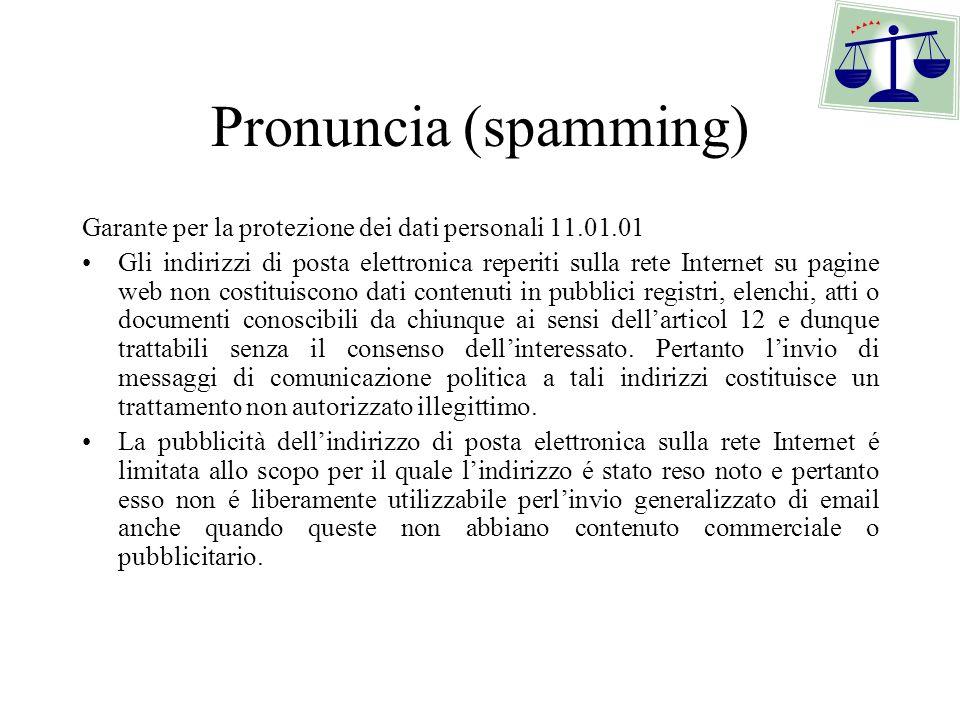 Pronuncia (spamming) Garante per la protezione dei dati personali 11.01.01.