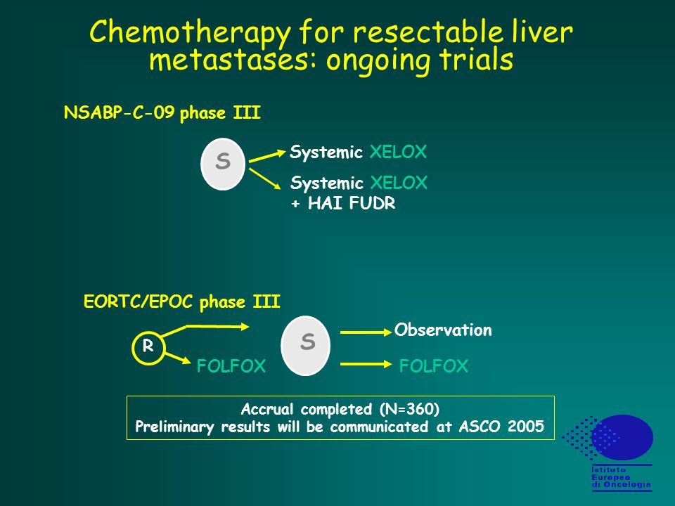 Chemotherapy for resectable liver metastases: ongoing trials