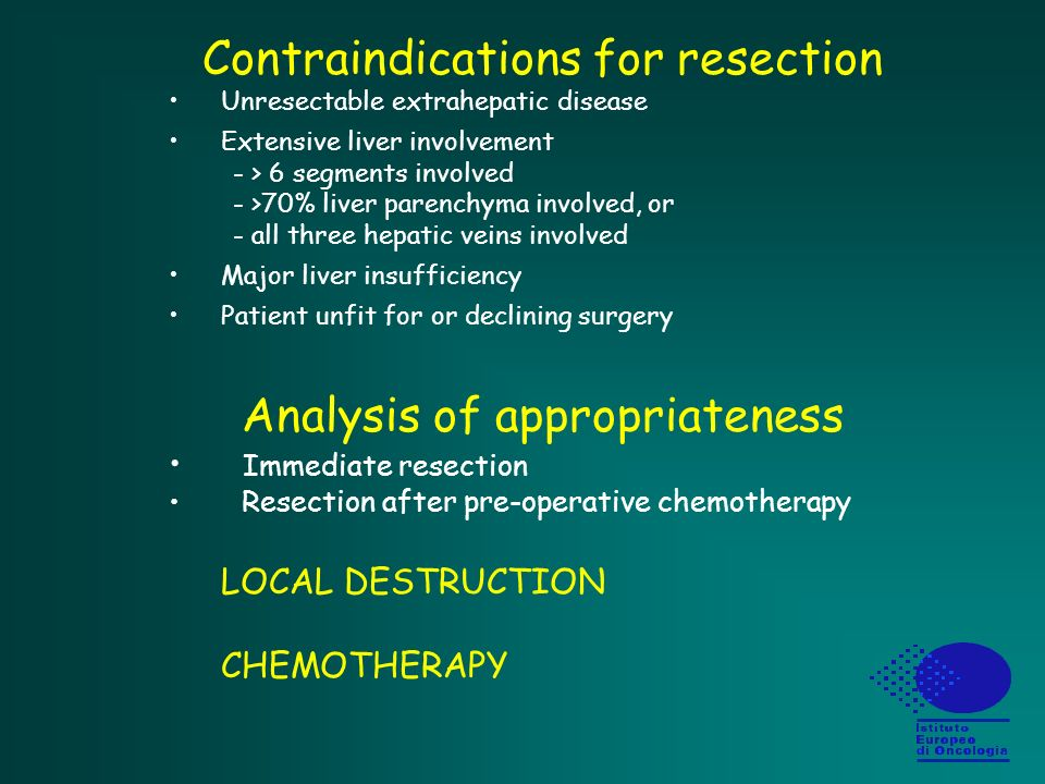 Contraindications for resection