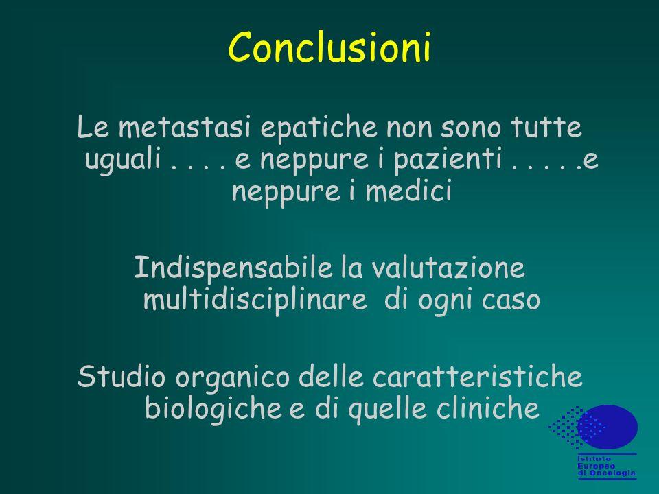 Conclusioni Le metastasi epatiche non sono tutte uguali . . . . e neppure i pazienti . . . . .e neppure i medici.
