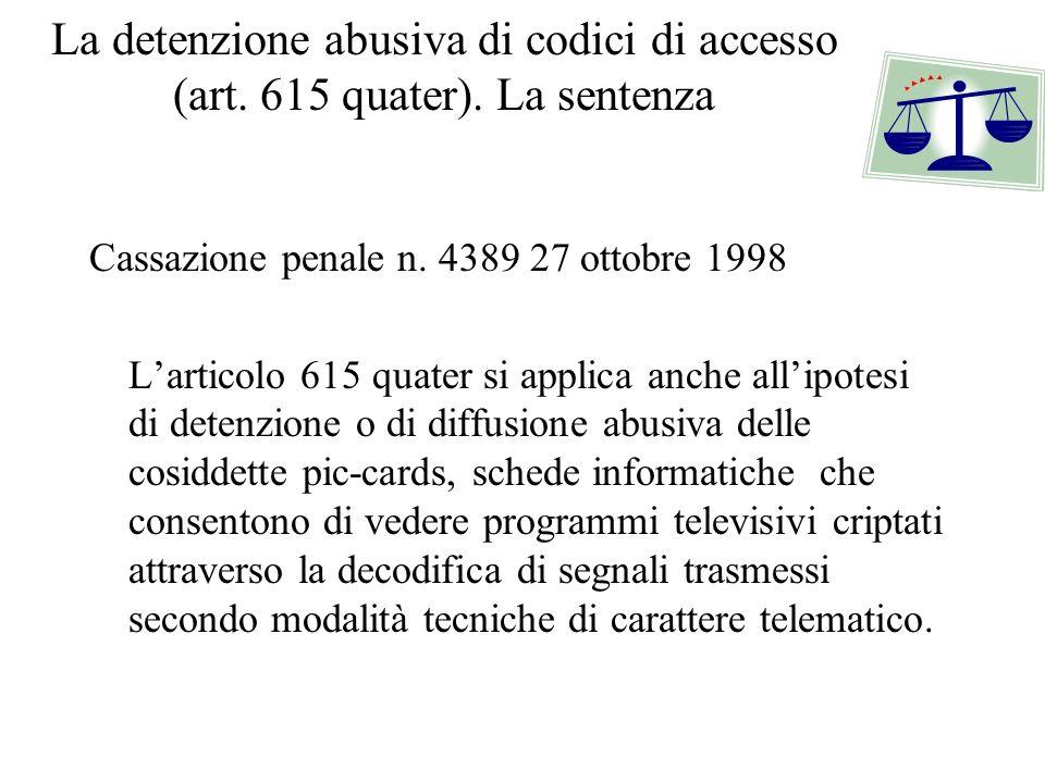 La detenzione abusiva di codici di accesso (art. 615 quater)