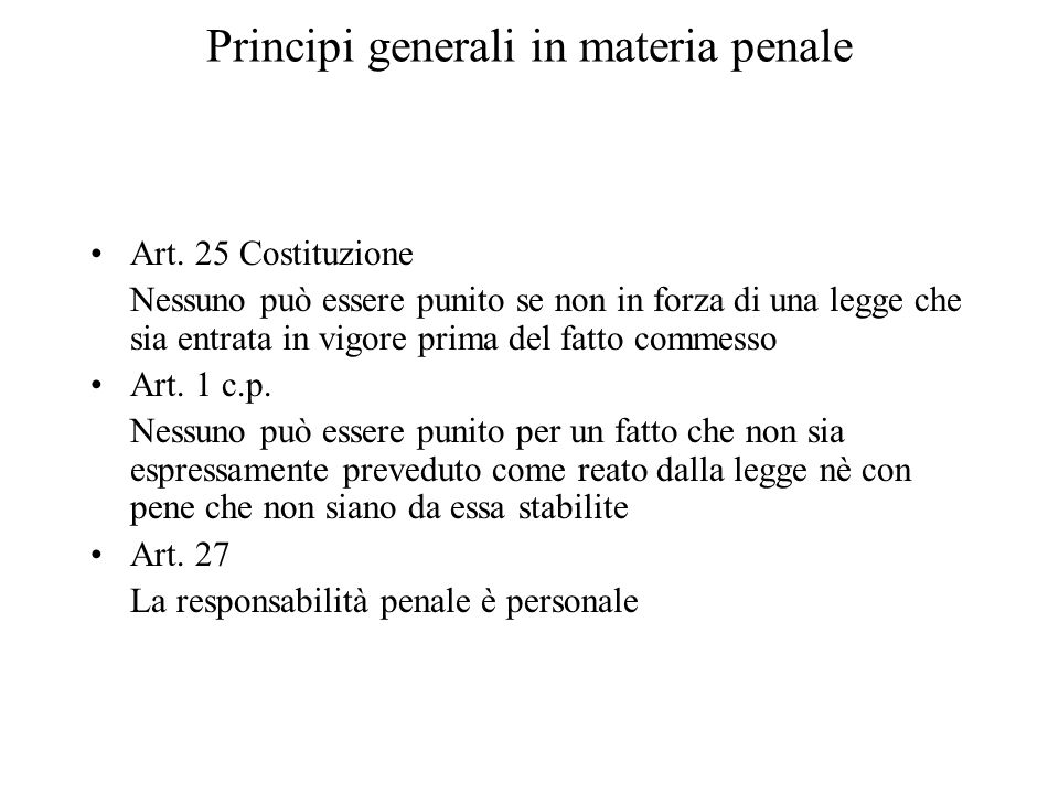 Principi generali in materia penale