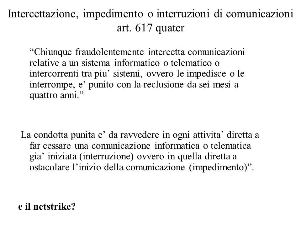 Intercettazione, impedimento o interruzioni di comunicazioni art