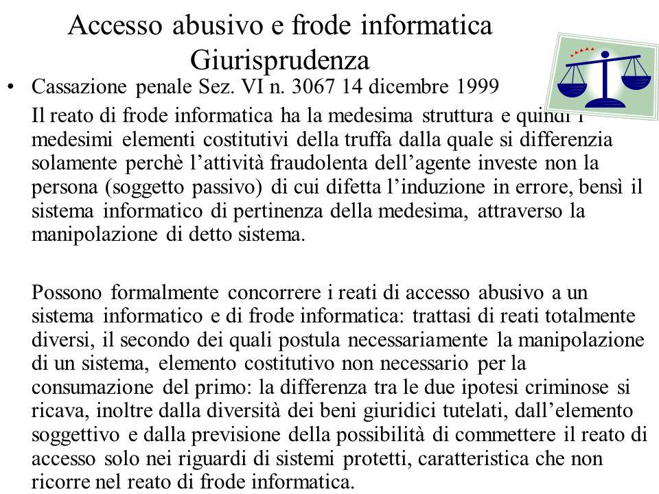 Accesso abusivo e frode informatica Giurisprudenza