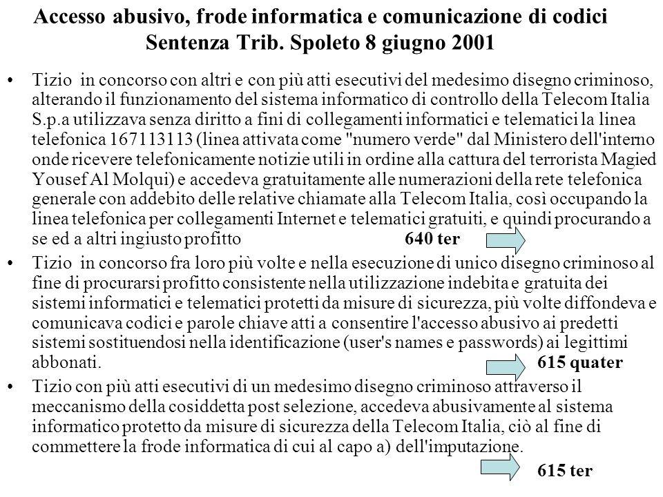 Accesso abusivo, frode informatica e comunicazione di codici Sentenza Trib. Spoleto 8 giugno 2001