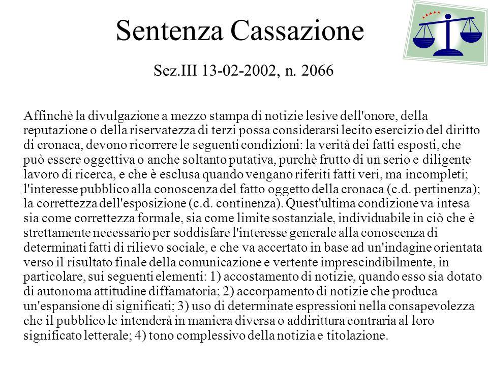 Sentenza Cassazione Sez.III 13-02-2002, n. 2066