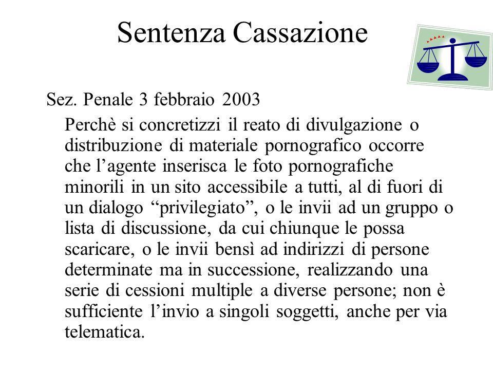 Sentenza Cassazione Sez. Penale 3 febbraio 2003