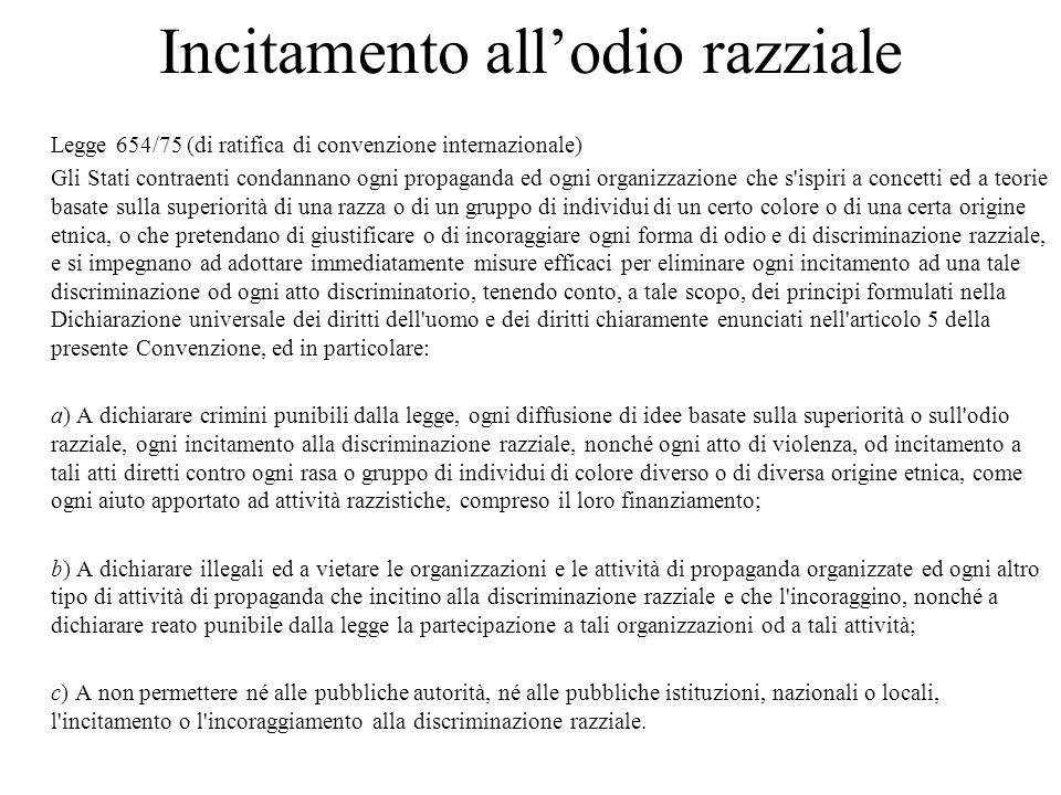 Incitamento all'odio razziale