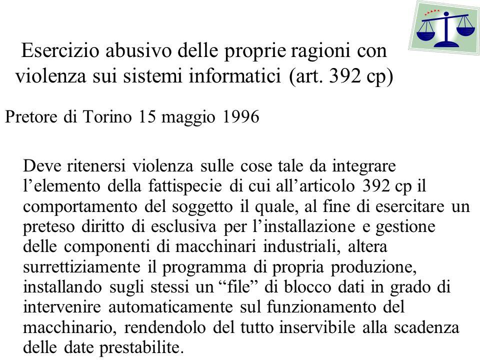 Esercizio abusivo delle proprie ragioni con violenza sui sistemi informatici (art. 392 cp)