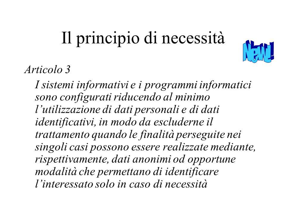 Il principio di necessità