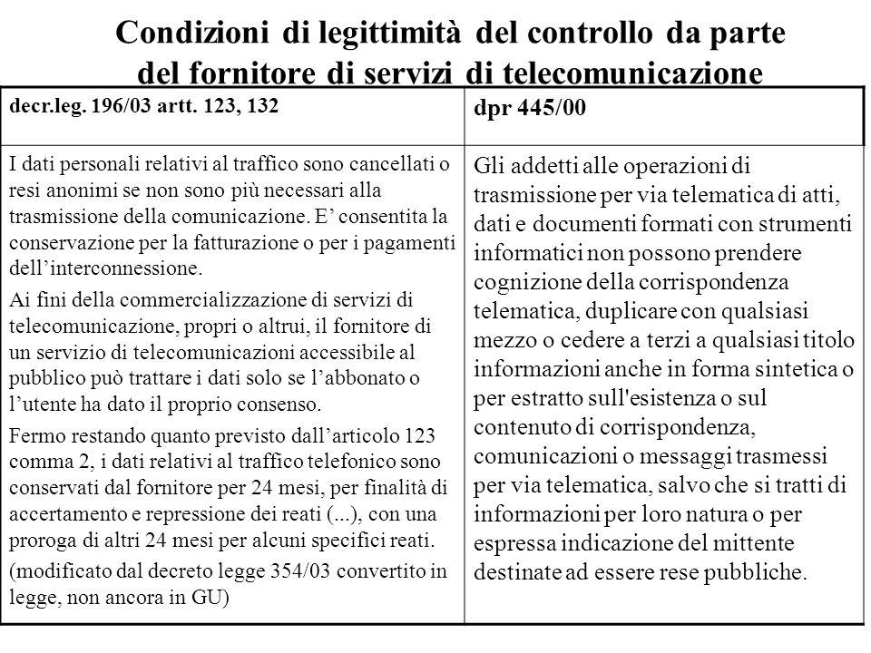 Condizioni di legittimità del controllo da parte del fornitore di servizi di telecomunicazione