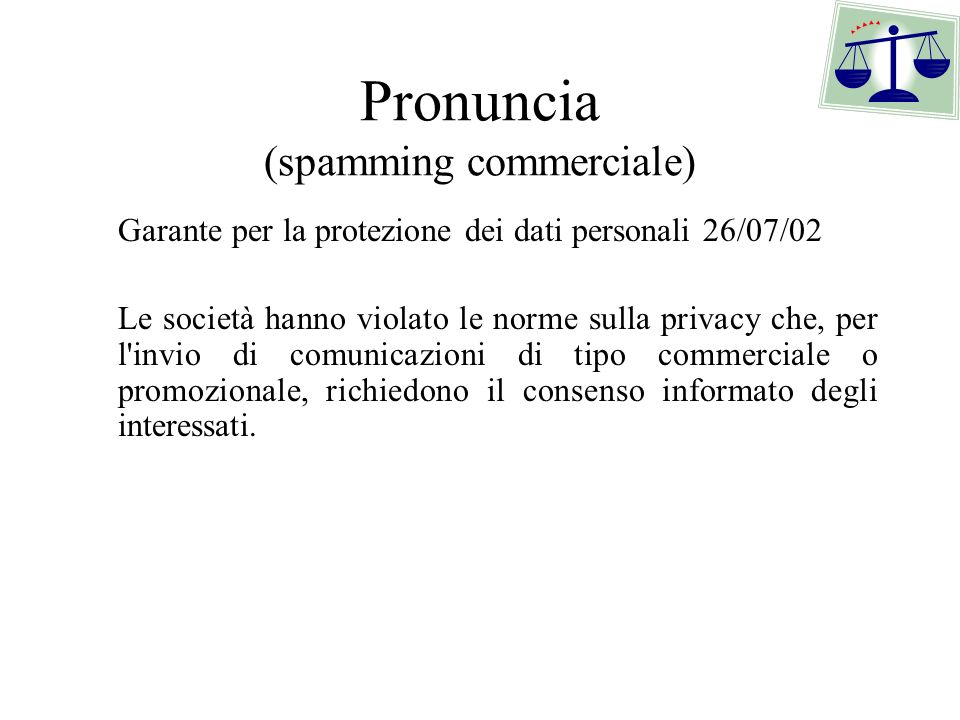 Pronuncia (spamming commerciale)
