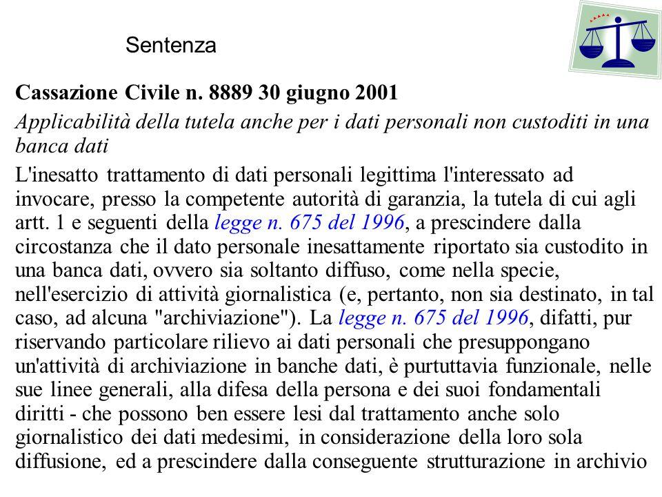 Sentenza Cassazione Civile n. 8889 30 giugno 2001. Applicabilità della tutela anche per i dati personali non custoditi in una banca dati.