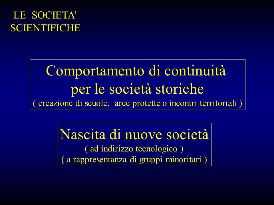 Comportamento di continuità per le società storiche