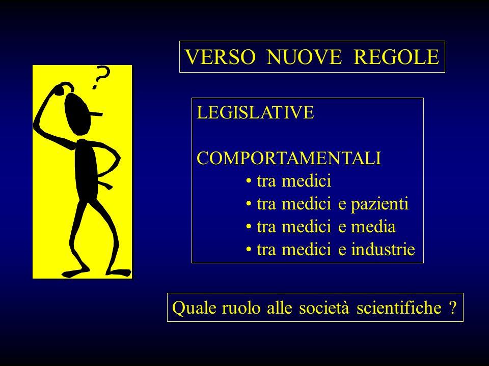 VERSO NUOVE REGOLE LEGISLATIVE COMPORTAMENTALI tra medici