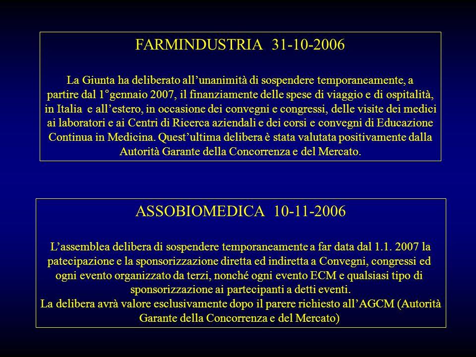 FARMINDUSTRIA 31-10-2006 ASSOBIOMEDICA 10-11-2006