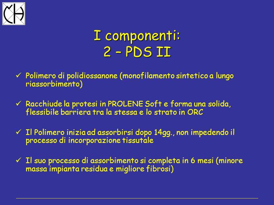 I componenti: 2 – PDS II. Polimero di polidiossanone (monofilamento sintetico a lungo riassorbimento)