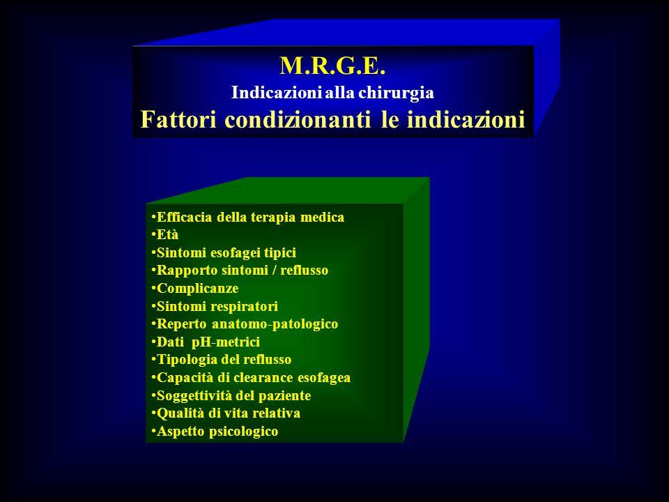 Indicazioni alla chirurgia Fattori condizionanti le indicazioni
