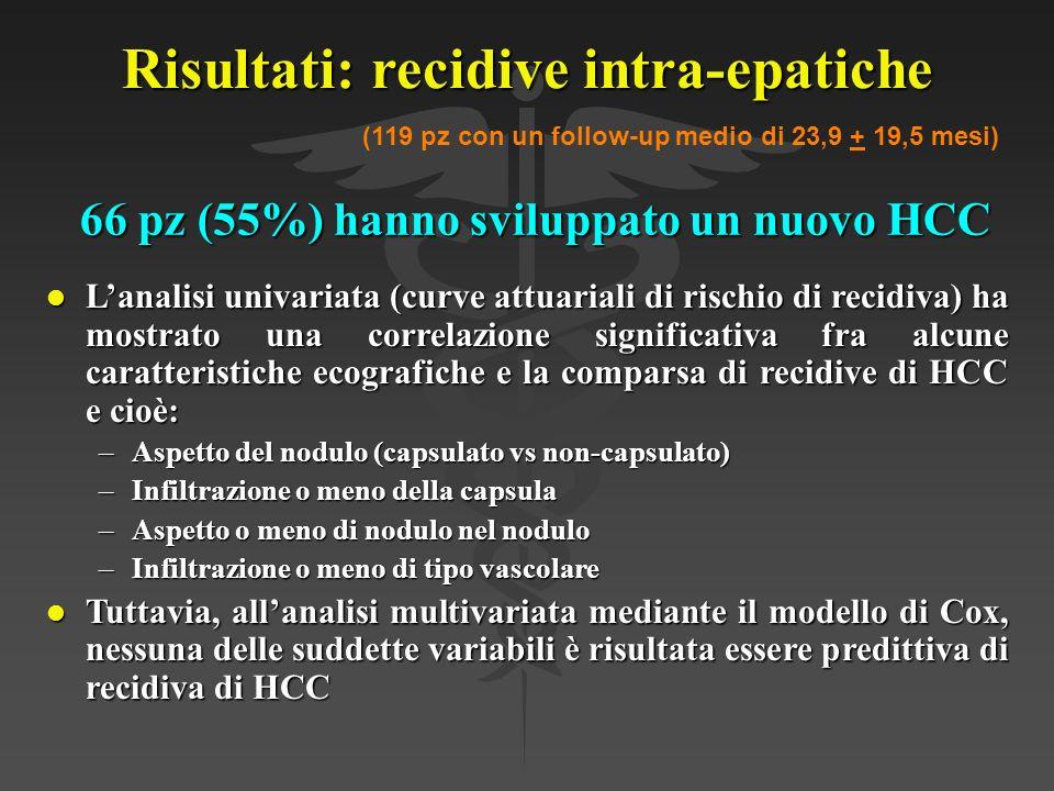 Risultati: recidive intra-epatiche