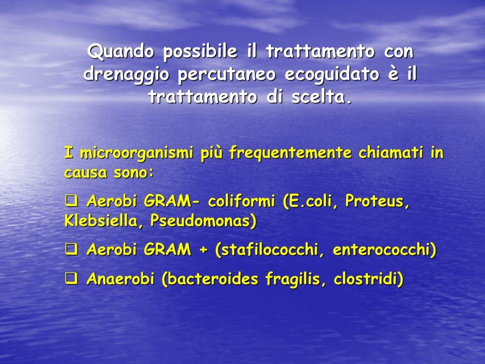 Quando possibile il trattamento con drenaggio percutaneo ecoguidato è il trattamento di scelta.