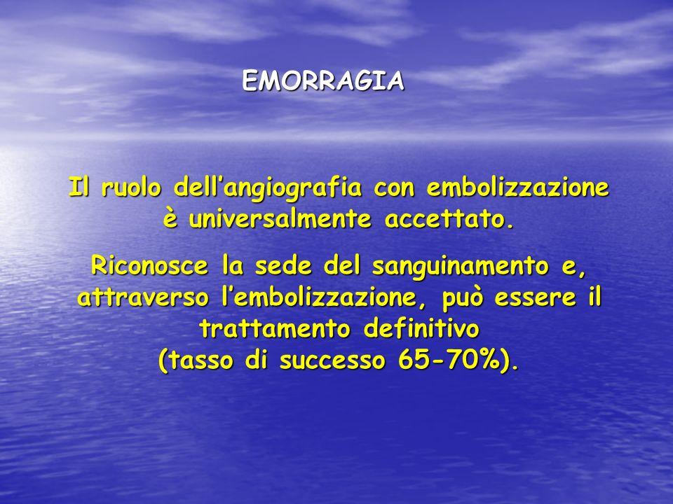 EMORRAGIA Il ruolo dell'angiografia con embolizzazione è universalmente accettato.