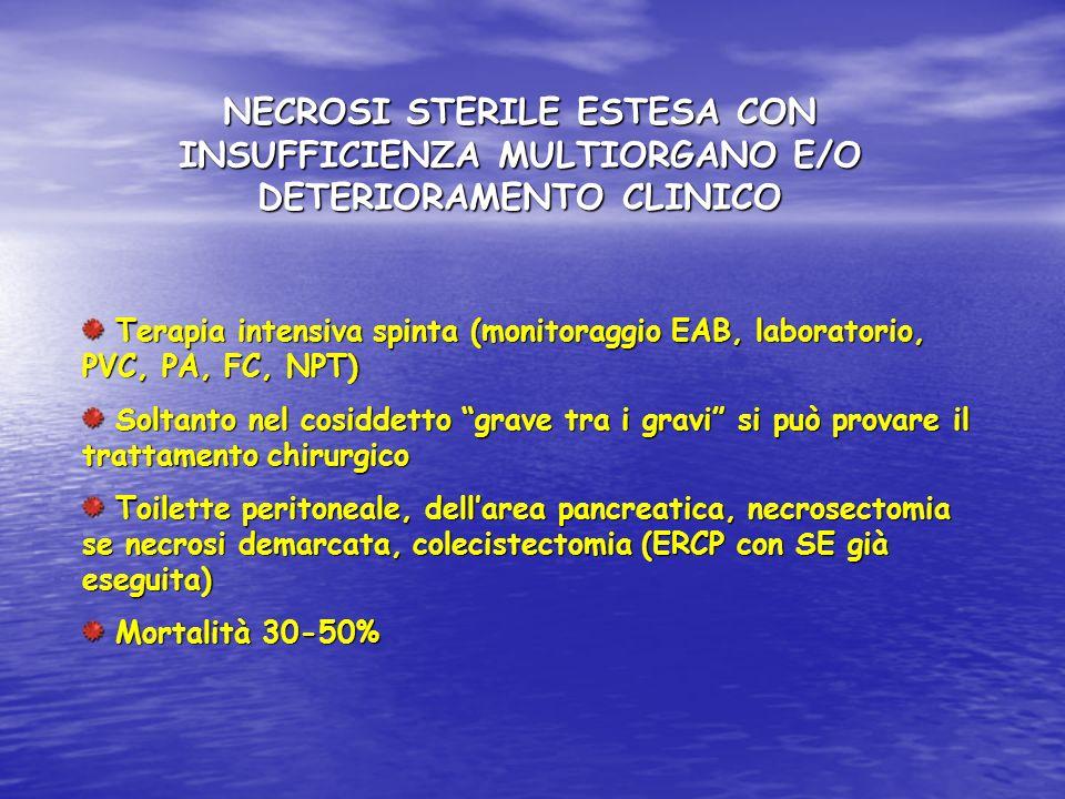 NECROSI STERILE ESTESA CON INSUFFICIENZA MULTIORGANO E/O DETERIORAMENTO CLINICO