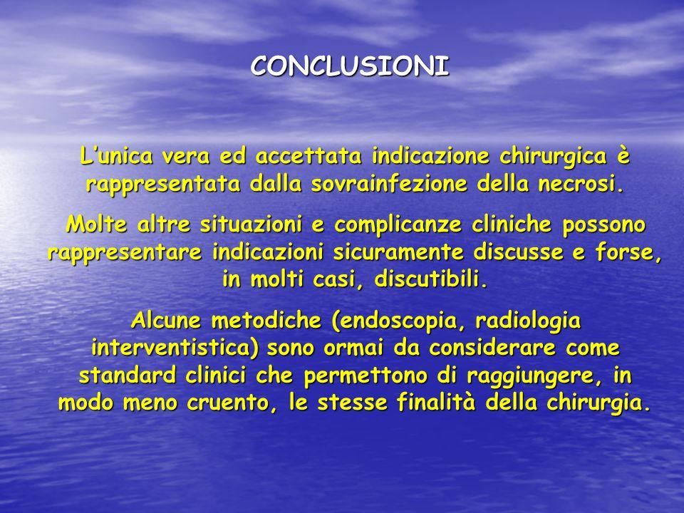 CONCLUSIONI L'unica vera ed accettata indicazione chirurgica è rappresentata dalla sovrainfezione della necrosi.