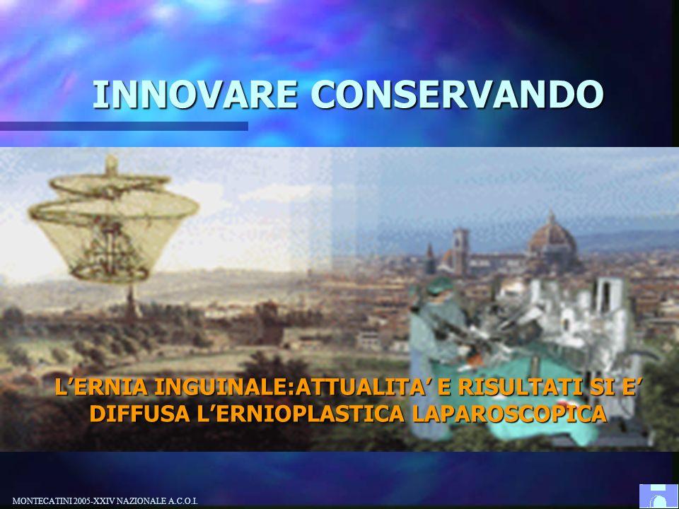 INNOVARE CONSERVANDO L'ERNIA INGUINALE:ATTUALITA' E RISULTATI SI E' DIFFUSA L'ERNIOPLASTICA LAPAROSCOPICA.