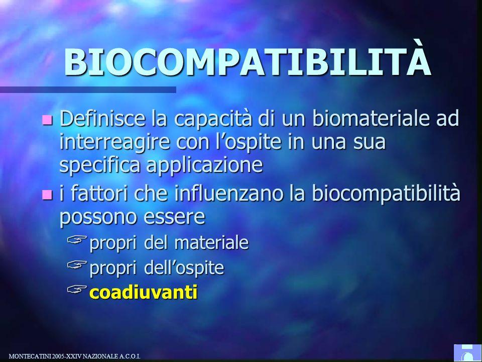 BIOCOMPATIBILITÀ Definisce la capacità di un biomateriale ad interreagire con l'ospite in una sua specifica applicazione.