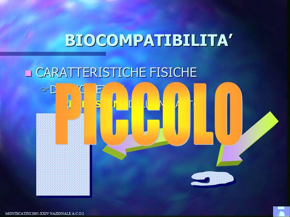 PICCOLO BIOCOMPATIBILITA' CARATTERISTICHE FISICHE DI GEOMETRIA